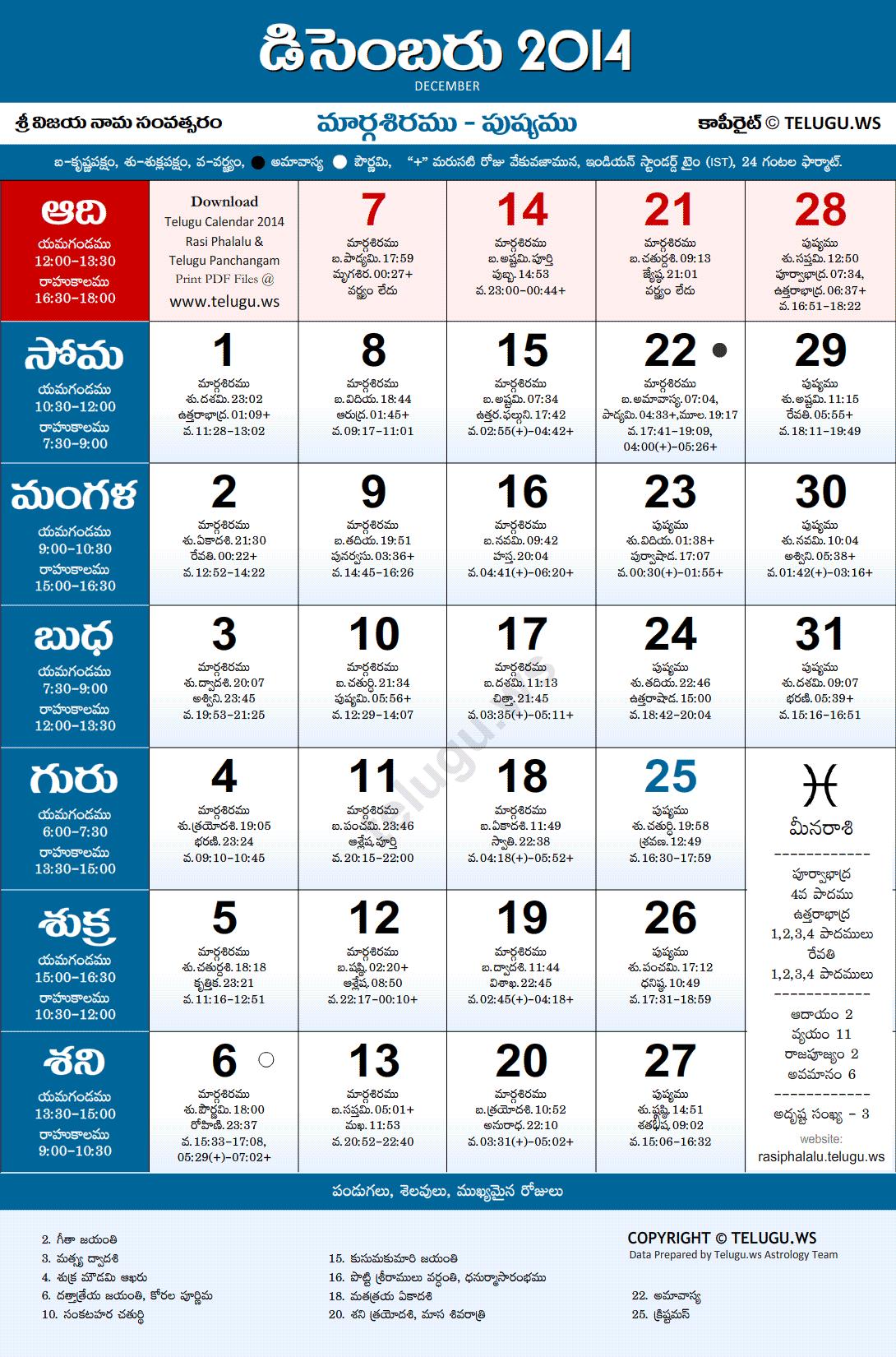 Venkatrama and co telugu calendar 2014 | andhra-telugu.