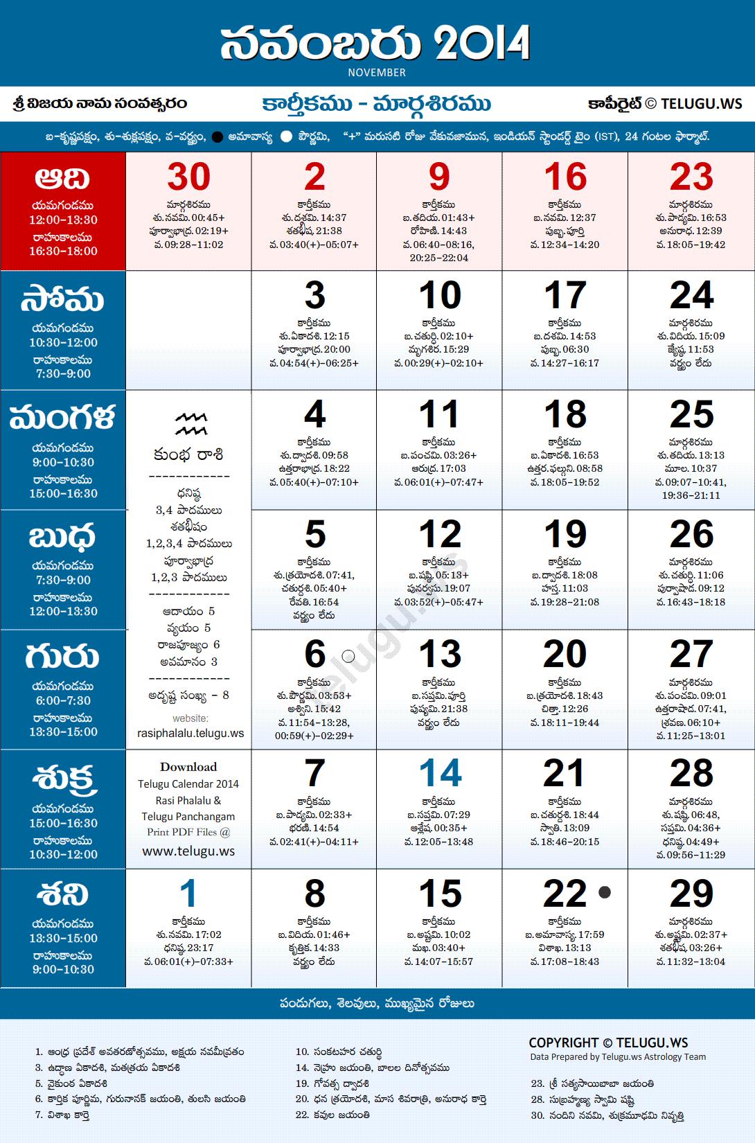 Telugu calendar 2014 march pdf print with festivals & holidays list.