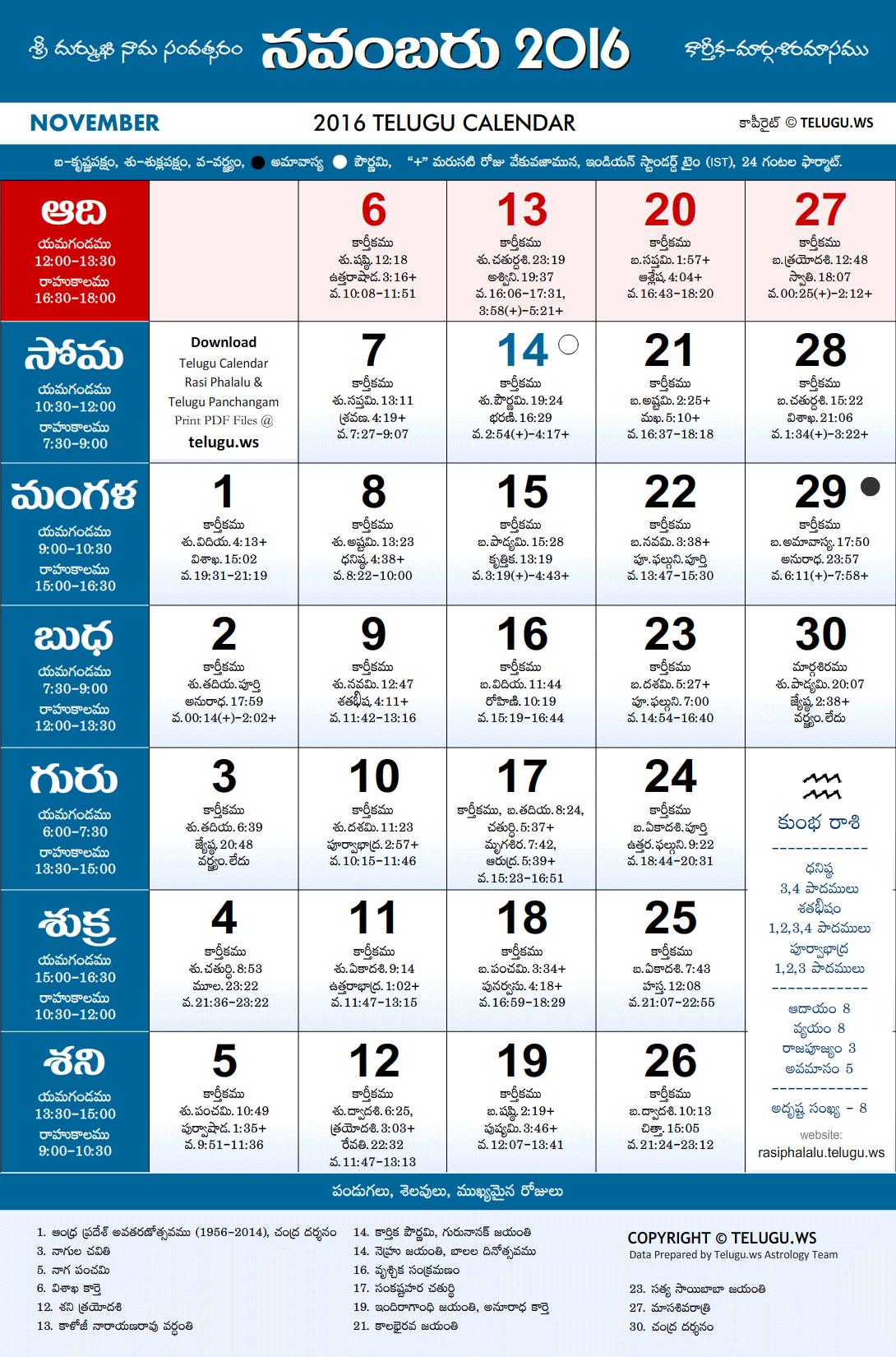 Calendar Telugu : Telugu calendar november pdf print with festivals