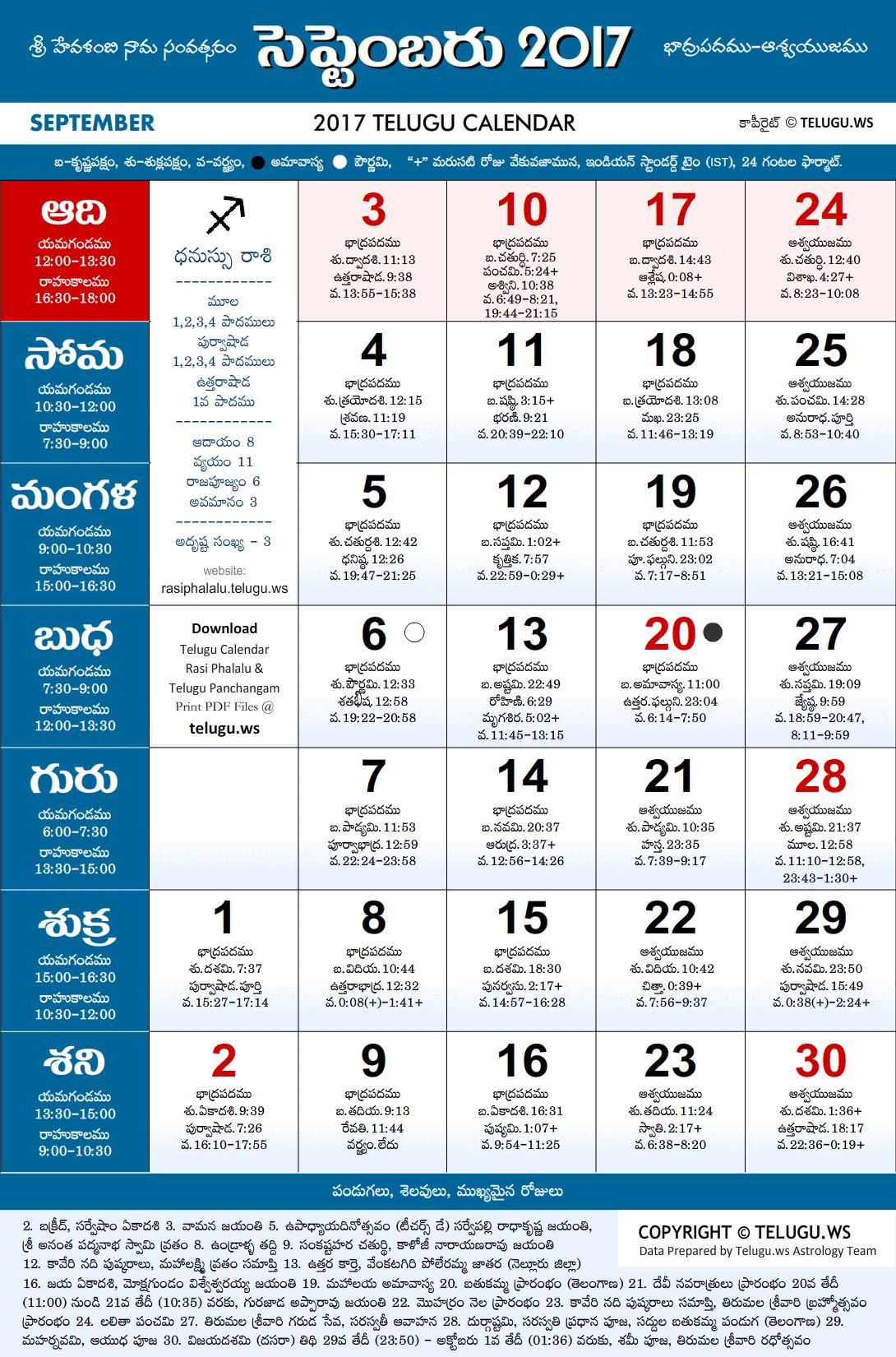 Telugu Calendar 2017 September PDF Print with Festivals & Holidays ...
