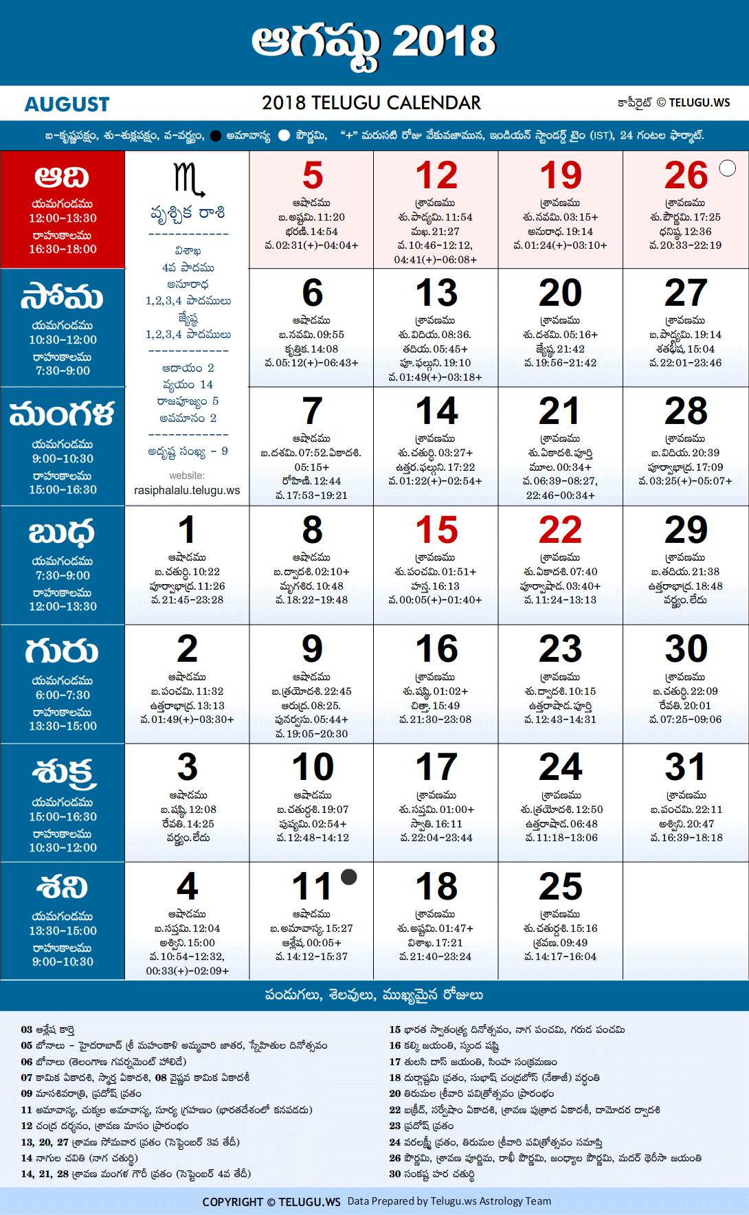 Calendar 2018 May Telugu
