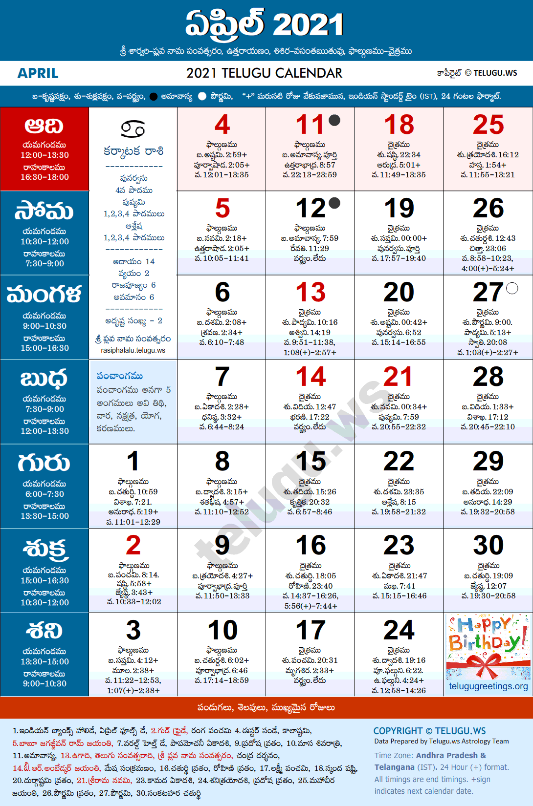 Telugu Calendar 2021 April Festivals and Holidays
