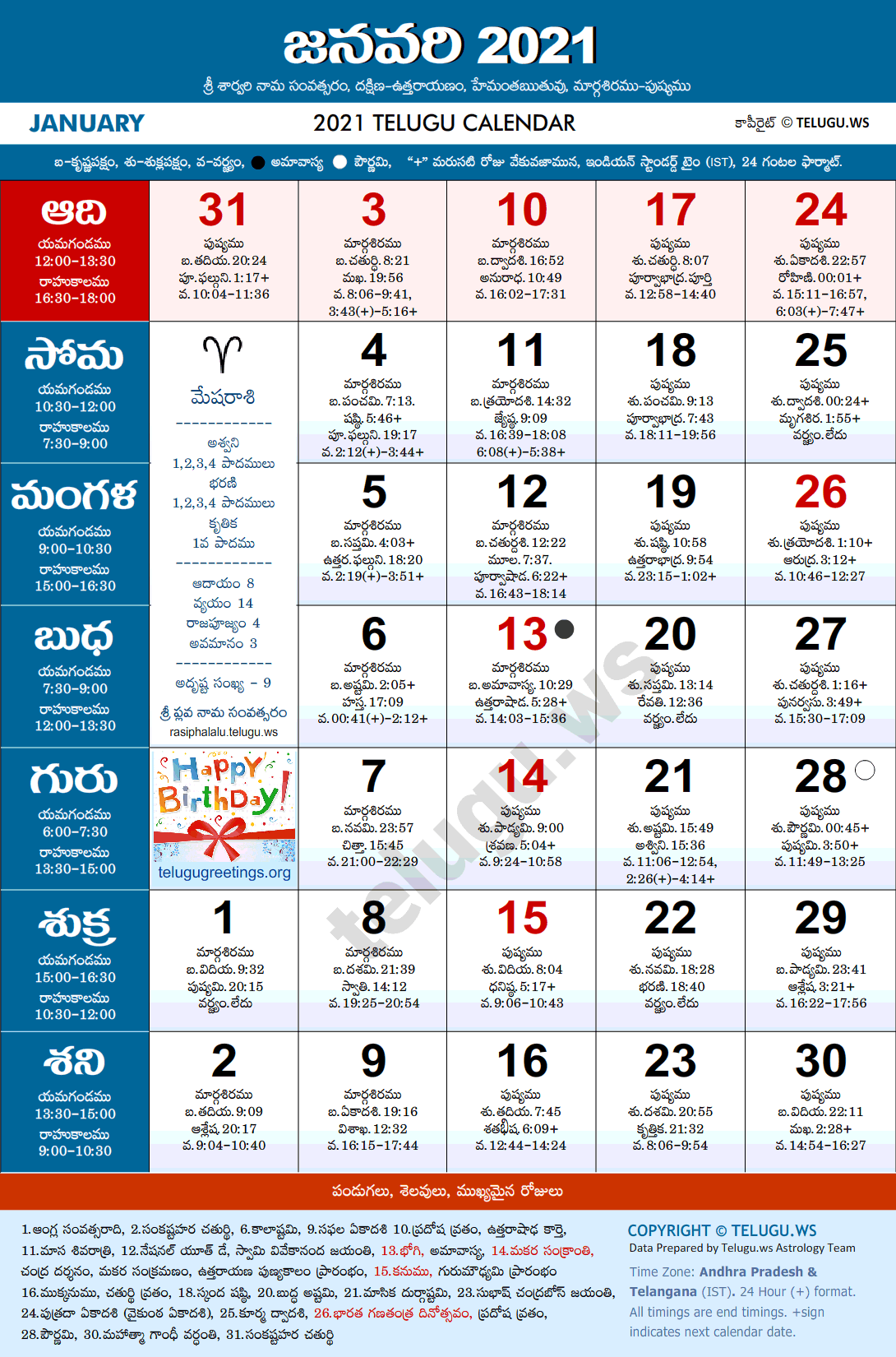 Telugu Calendar 2021 January Festivals and Holidays