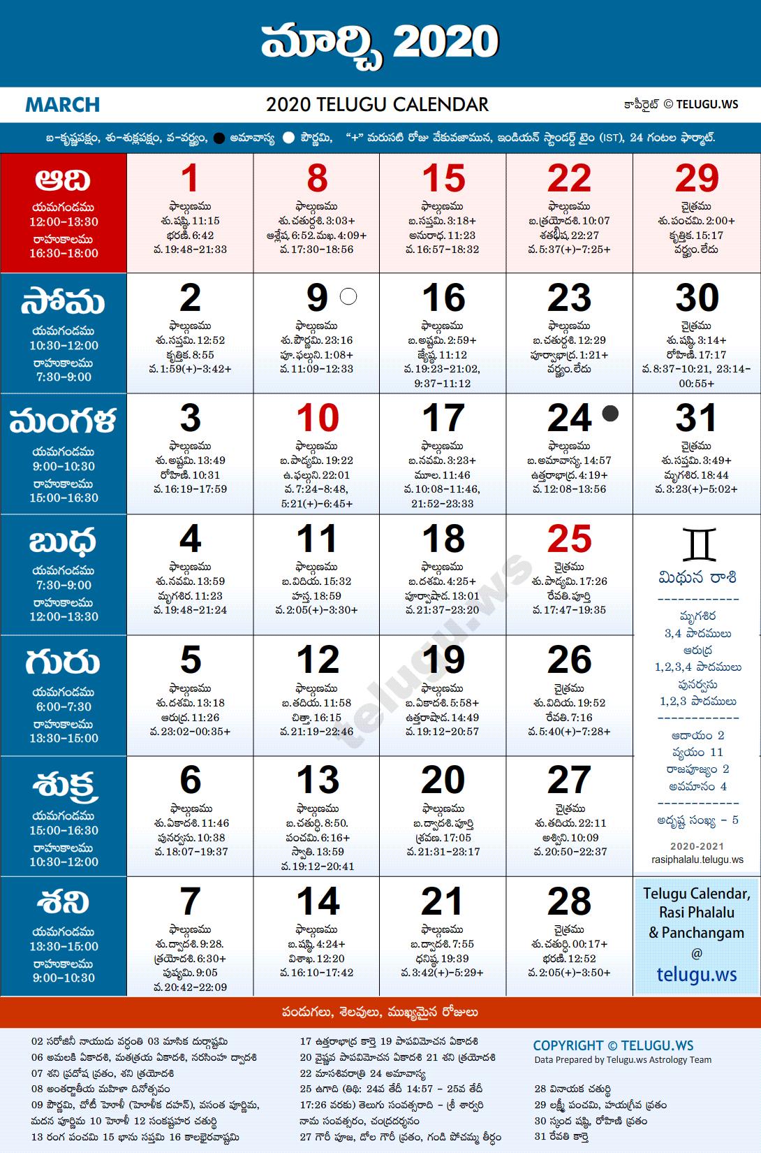 Telugu Calendar 2020 March PDF Print with Festivals ...
