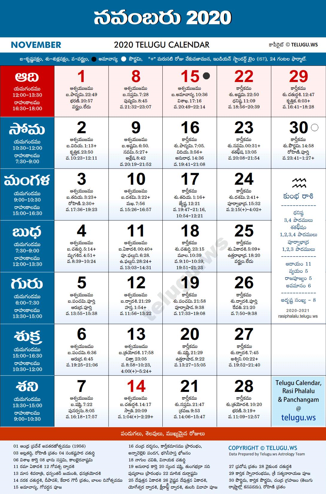 Telugu Calendar 2020 November PDF Print with Festivals ...